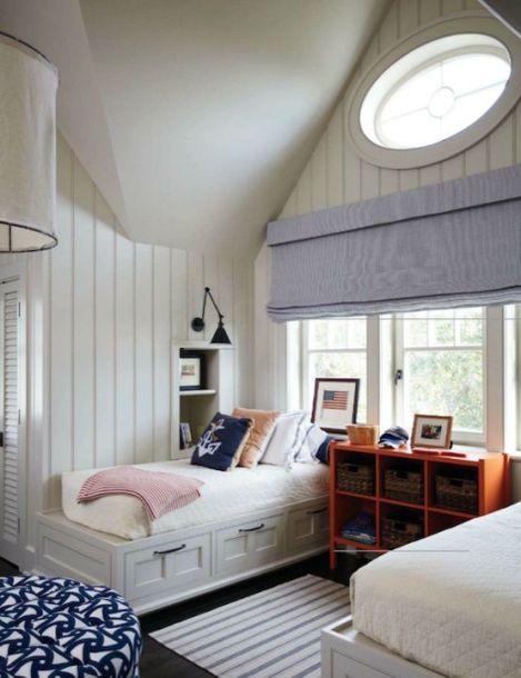 Nautical coastal bedroom with great lighting!