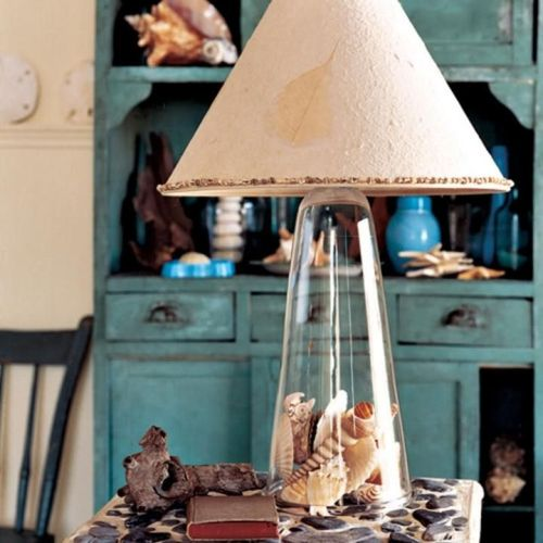 Coastal table lamp filled with shells