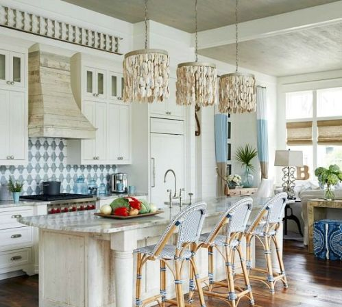 Shell chandeliers in the kitchen
