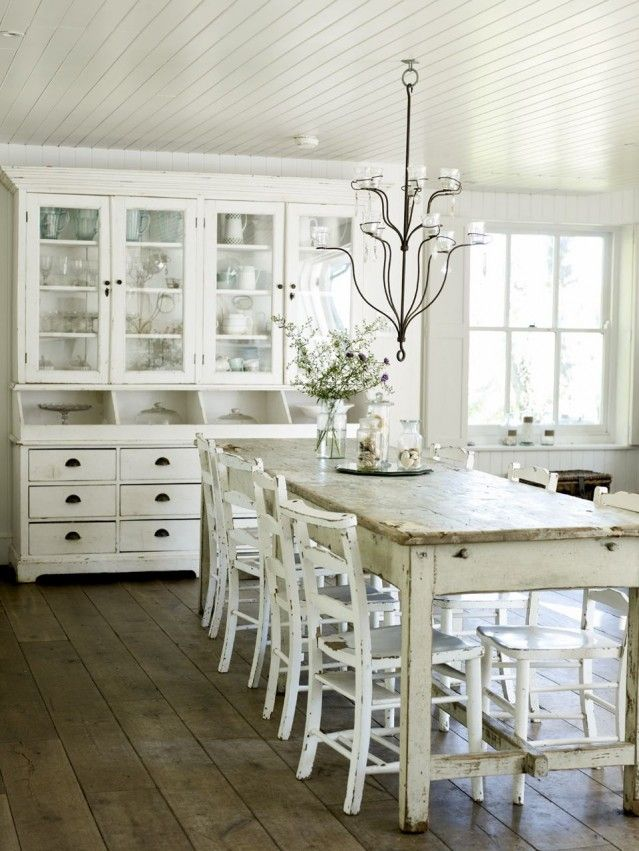 ... Rustic Cottage Dining Space With Ladder Back Chairs